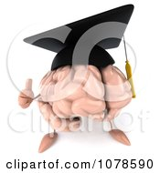 3d Graduation Brain Holding A Thumb Up