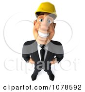 Clipart 3d Strong Builder Man Looking Up Royalty Free CGI Illustration