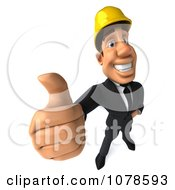 3d Strong Builder Man Holding A Thumb Up