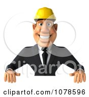 Clipart 3d Strong Builder Man Holding A Blank Sign Royalty Free CGI Illustration
