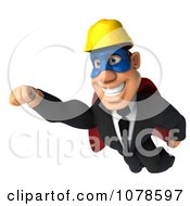 Clipart 3d Strong Super Builder Man Flying Royalty Free CGI Illustration