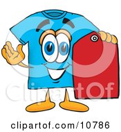 Clipart Picture Of A Blue Short Sleeved T Shirt Mascot Cartoon Character Holding A Red Sales Price Tag by Toons4Biz