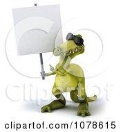 Clipart 3d Dinosaur Wearing Shades And Presenting A Sign 1 Royalty Free CGI Illustration