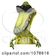 Clipart 3d Dinosaur Wearing Shades And Presenting A Sign 2 Royalty Free CGI Illustration