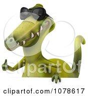 Clipart 3d Dinosaur Wearing Shades And Presenting A Sign 3 Royalty Free CGI Illustration