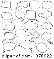 Clipart Black And White Sketched Speech And Thought Bubble Design Elements Royalty Free Vector Illustration by KJ Pargeter