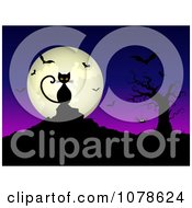 Clipart Creepy Black Cat Against A Full Moon With Bats A Bare Tree And Spider Royalty Free Vector Illustration by KJ Pargeter