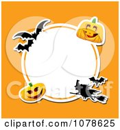 Clipart Round Halloween Circle With Bats A Witch And Pumpkins On Orange Royalty Free Vector Illustration