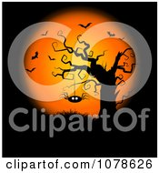 Clipart Halloween Background With Bats A Full Moon And Spider Hanging From A Bare Tree Royalty Free Vector Illustration by KJ Pargeter