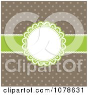 Clipart Retro Green And Brown Polka Dot And Ribbon Frame Invitation Background Royalty Free Vector Illustration