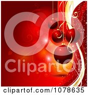 Clipart Red Background Of Suspended 3d Christmas Baubles And Vines Royalty Free Vector Illustration