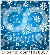 Clipart Winter Or Christmas Background Of Snowflakes And Stars On Blue Royalty Free Vector Illustration
