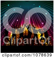 Clipart Silhouetted People Dancing Under Colorful Lights Royalty Free Vector Illustration