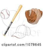 Baseball Bat Glove And Hat