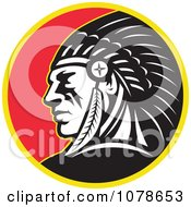 Clipart Retro Native American Indian Chief Circle Logo Royalty Free Vector Illustration
