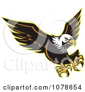 Clipart Retro Attacking Bald Eagle Logo Royalty Free Vector Illustration