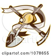 Clipart Retro Mining Helmet Banner And Tools Logo Royalty Free Vector Illustration