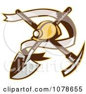 Retro Mining Helmet Banner And Tools Logo