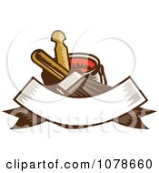 Clipart Retro Paintbrush Bucket And Banner Logo Royalty Free Vector Illustration