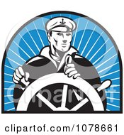 Clipart Retro Black And White Captain And Helm Over Blue Rays Logo Royalty Free Vector Illustration