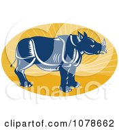 Clipart Retro Blue Rhino Profile On A Yellow Ray Oval Logo Royalty Free Vector Illustration by patrimonio