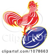 Clipart Retro Rugby Rooster And Ball Logo Royalty Free Vector Illustration
