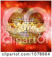 Clipart 3d Golden 2012 New Year Disco Ball Over Red Sparkles Royalty Free Vector Illustration
