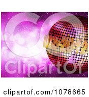 Clipart 3d 2012 New Year Disco Ball Over Purple Sparkles Royalty Free Vector Illustration by elaineitalia