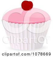 Clipart 3d Iced Cupcake With A Cherry On Top Royalty Free Vector Illustration by elaineitalia