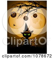Clipart Halloween Witch Cat Under Baubles On A Bare Tree And A Full Moon Royalty Free Vector Illustration