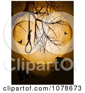 Clipart Noose In A Bare Tree Against A Full Moon With Ruins And Bats Royalty Free Vector Illustration