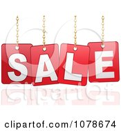 Clipart 3d Red Hanging SALE Signs Over A Reflection Royalty Free Vector Illustration