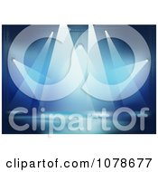 Clipart Blue Background Of Bright Stage Lights Royalty Free Vector Illustration