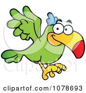 Clipart Flying Green Parrot Royalty Free Vector Illustration