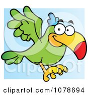 Clipart Green Parrot Flying Royalty Free Vector Illustration