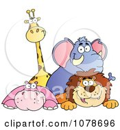 Clipart Happy Giraffe Elephant Hippo And Lion Royalty Free Vector Illustration by Hit Toon
