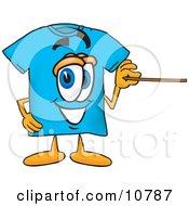 Blue Short Sleeved T-Shirt Mascot Cartoon Character Holding A Pointer Stick