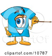 Blue Short Sleeved T Shirt Mascot Cartoon Character Holding A Pointer Stick