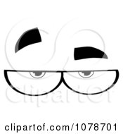 Clipart Black And White Pair Of Skeptical Eyes Royalty Free Vector Illustration