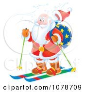 Clipart Santa Skiing Royalty Free Illustration