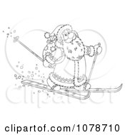 Clipart Outlined Santa Skiing Through The Snow Royalty Free Illustration