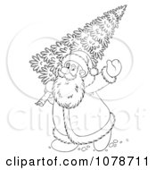 Clipart Outlined Santa Carrying A Christmas Tree Royalty Free Illustration