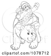 Clipart Outlined Santa Riding On A Bear Royalty Free Illustration