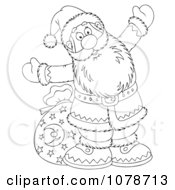 Clipart Outlined Santa By A Bag Royalty Free Illustration