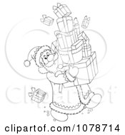 Clipart Outlined Santa Carrying Gift Boxes Royalty Free Illustration