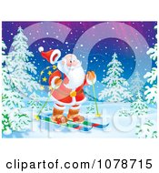 Clipart Santa Skiing In The Woods Under The Northern Lights Royalty Free Illustration