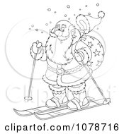 Clipart Outlined Santa Skiing Royalty Free Illustration
