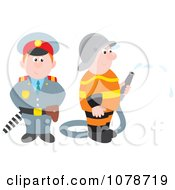 Clipart Police Officer And Fireman Royalty Free Vector Illustration by Alex Bannykh