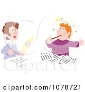Clipart Male Authors And Composers Writing Royalty Free Vector Illustration