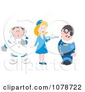 Clipart Astronaut Flight Attendant And Pilot Royalty Free Vector Illustration